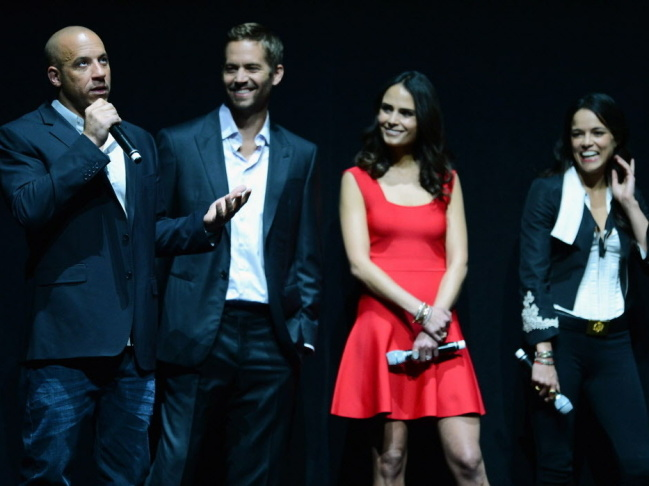 "Actors Vin Diesel and Paul Walker, and actresses Jordana Brewster and Michelle Rodriguez attend a Universal Pictures presentation to promote their upcoming film ""Fast & Furious 6."""