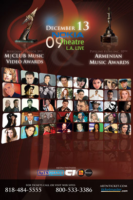 Poster for the Armenian Music Awards and M Club Music Video Awards together at the Nokia Theatre.