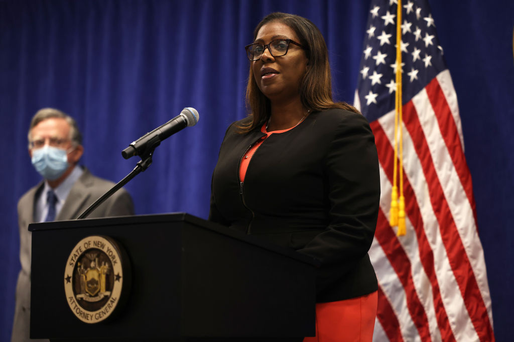 New York State Attorney General Letitia James speaks during a press conference announcing a lawsuit to dissolve the NRA on August 06, 2020 in New York City.