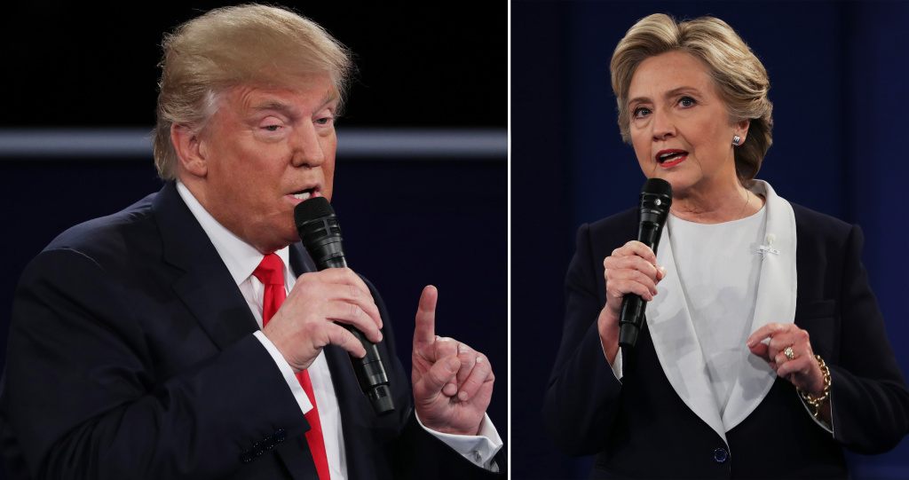 In this composite image, Republican presidential nominee Donald Trump and Democratic presidential nominee Hillary Clinton respond to questions during the town hall debate at Washington University on Sunday, Oct. 9, 2016 in St. Louis, Missouri.