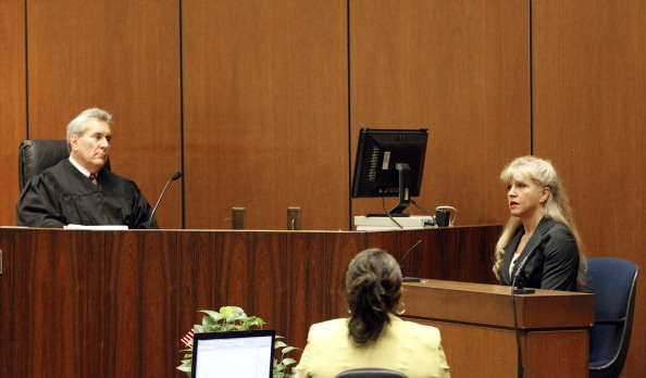 Lawyer Kathy Jorrie,(R) testifies that she drafted the contract for AEG Live, which was organizing shows for pop icon Michael Jackson, 10 days before Jackson's death, and that the doctor called her twice asking for a 'number of revisions' on the second day of Conrad Murray's involuntary manslaughter trial in downtown Los Angeles.