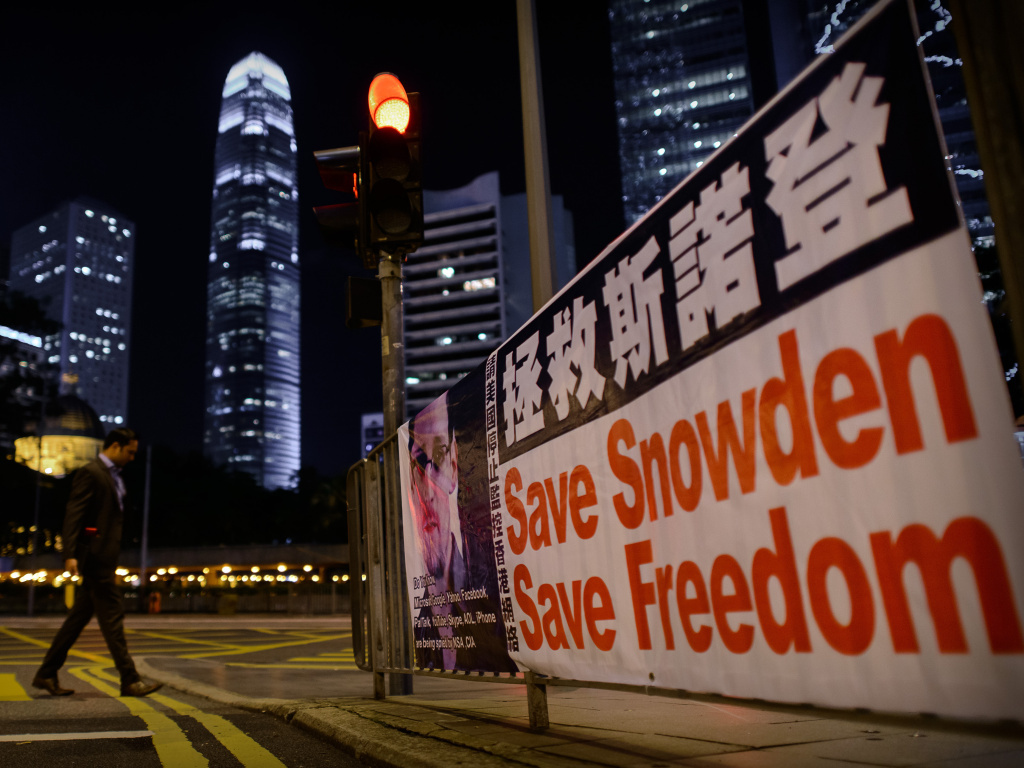 A banner displayed in Hong Kong in support of Edward Snowden in Hong Kong on Monday.