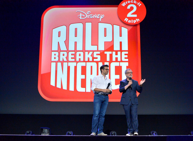 ANAHEIM, CA - JULY 14: Director Phil Johnston (L) and director Rich Moore of RALPH BREAKS THE INTERNET: WRECK-IT RALPH 2 took part today in the Walt Disney Studios animation presentation at Disney's D23 EXPO 2017 in Anaheim, Calif. RALPH BREAKS THE INTERNET: WRECK-IT RALPH 2 will be released in U.S. theaters on November 21, 2018.  (Photo by Jesse Grant/Getty Images for Disney)
