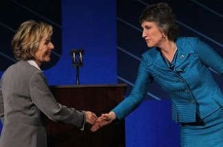 U.S. Sen. Barbara Boxer (L) (D-CA) shakes hands with Republican candidate for U.S. Senate Carly Fiorina at the conclusion of a debate on the campus of Saint Mary's College, September 1, 2010 in Moraga, California.