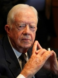 Former US president Jimmy Carter holds a press conference in Damascus on October 19, 2010.