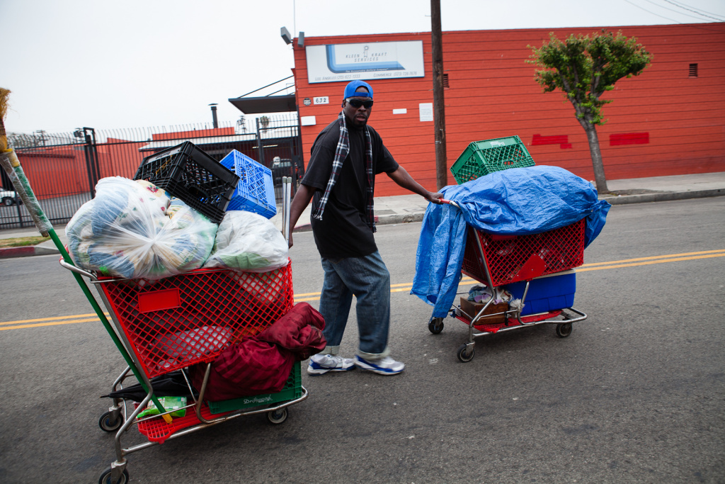 City cleaning crews cleaned Skid Row. Area resident Frank Jeffrey Kennon moves his belongings before they arrive on June 21, 2012.