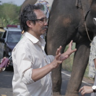 "Actor Thaneth Warakulnukroh (left) and writer-director Kirsten Tan with Bong the elephant on the set of ""Pop Aye."""