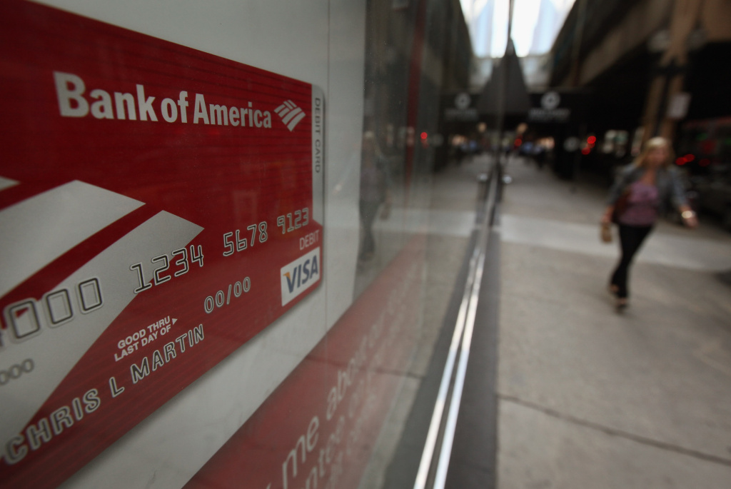 People walk past a Bank of America branch on September 12, 2011 in Chicago, Illinois.