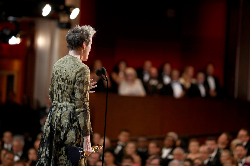In this handout provided by A.M.P.A.S., Frances McDormand gives her speech after winning the Oscar for Best Actress at the 90th Annual Academy Awards at the Dolby Theatre on March 4, 2018 in Hollywood, California.