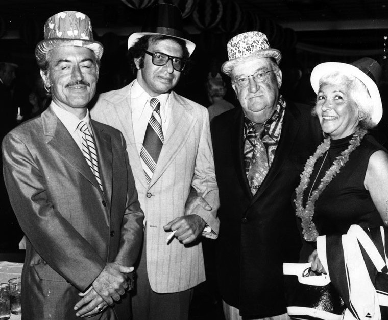 Why aren't Irish eyes -- Dodger owner Walter O'Malley, second from right -- smiling? Because that's Major League Baseball players rep Marvin Miller on the left, who had just polled players on whether they were going to call a strike. Photo taken 1972 at O'Malley's St Patrick's Day party.