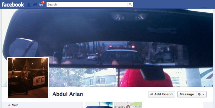 A screenshot from Abdul Arian's Facebook timeline header showing that he had photos of police vehicles on his profile.