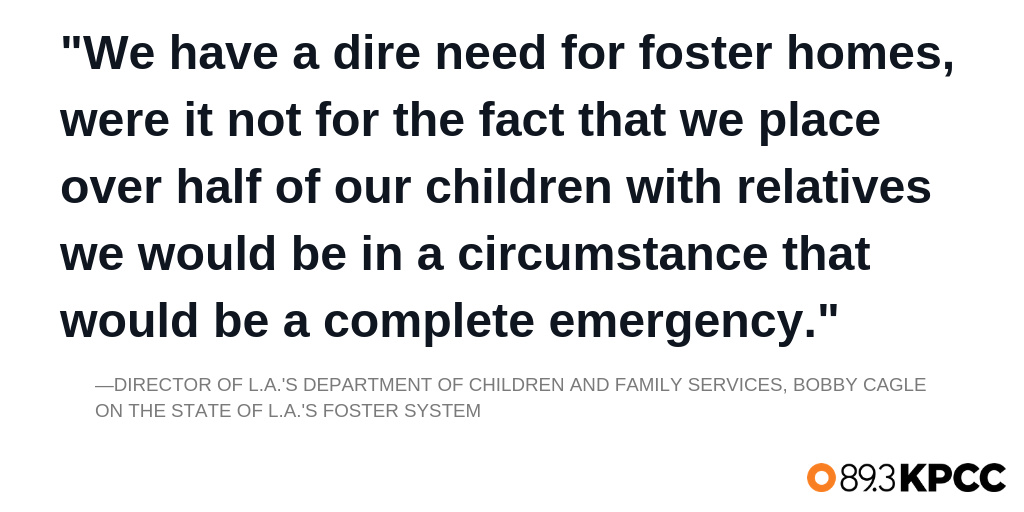 Bobby Cagle, Director of LA's Department of Children and Family Services on the state of L.A.'s foster system.