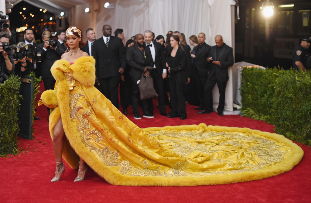 Rihanna wears a gown by Chinese designer Guo Pei at the