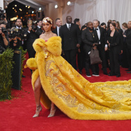 "Rihanna wears a gown by Chinese designer Guo Pei at the ""China: Through The Looking Glass"" Costume Institute Benefit Gala at the  Metropolitan Museum of Art on May 4, 2015 in New York City."