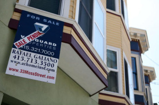 A sale pending sign is posted in front of a home for in San Francisco, California. The National Association of Realtors said Wednesday its seasonally adjusted index for pending home sales rose 4.5 percent last month to 105.9. That's the highest since April 2010, when a homebuyer's tax credit was about to expire.