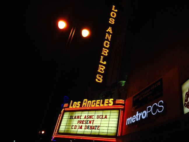 The grand old movie house on Broadway, the Los Angeles Theatre, was the venue for a debate among three candidates for the 14th District City Council seat, which includes part of Downtown L.A.