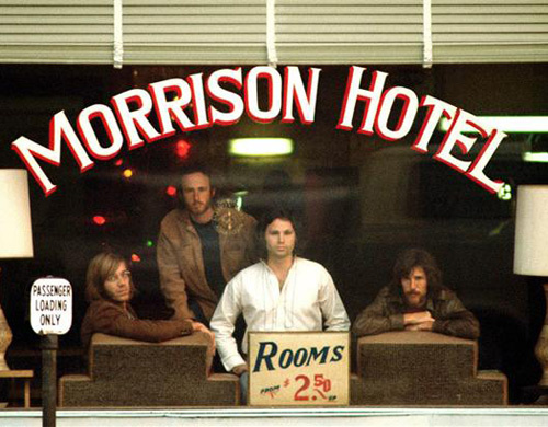 The Doors in the window of The Morrison Hotel.