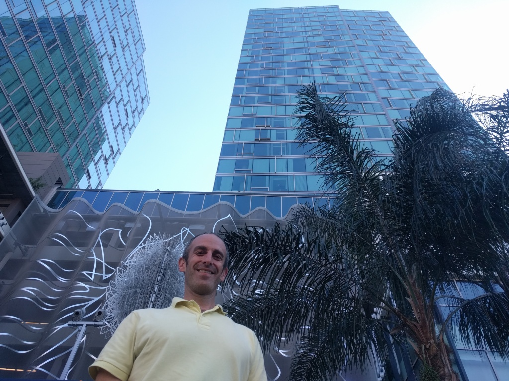 "Developer Mott Smith stands in front of one of the towers to The Vermont, an all-luxury building in Koreatown. ""It's easy to point to luxury units and say they're the cause of [unaffordability.]"""