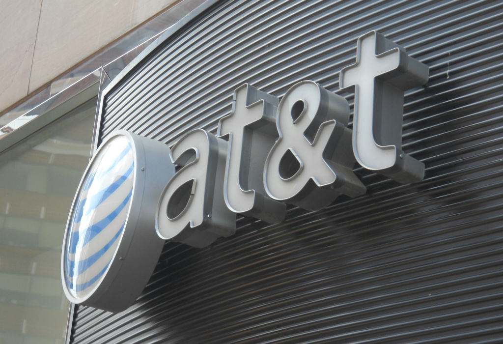 The AT&T logo is seen on June 2, 2010 in Washington DC.