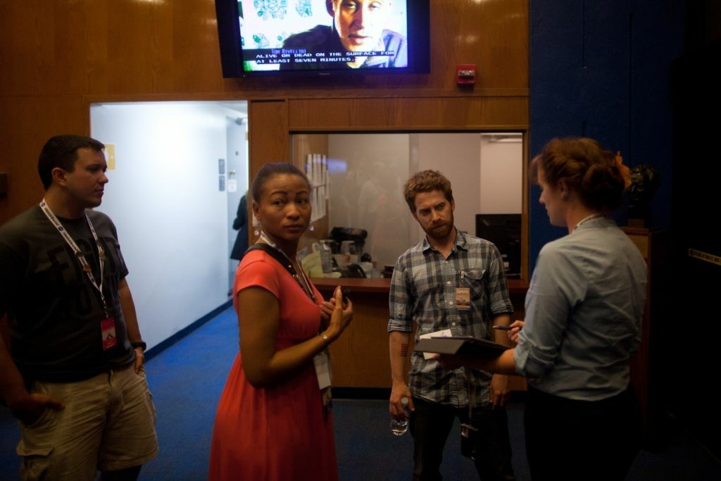 Actor Seth Green waits with others in the hour before Curiosity's landing on Mars at the Jet Propulsion Laboratory.