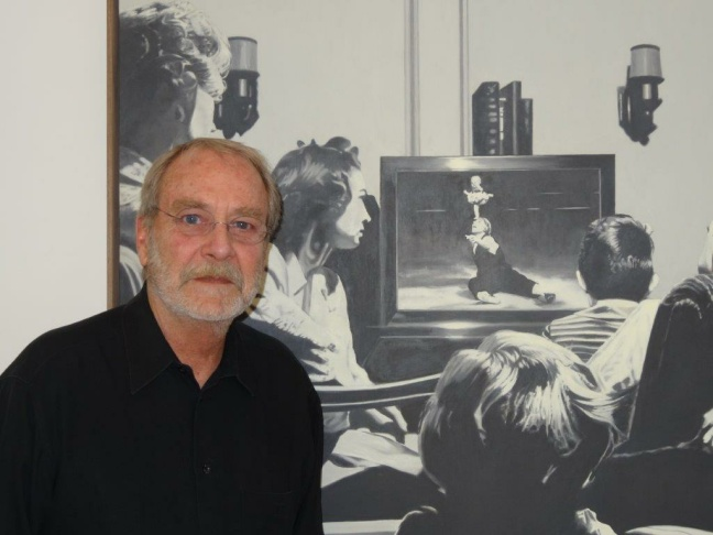 Martin Mull with his new painting, State of the Union, which gives its name to the show at Samuel Freeman Gallery.