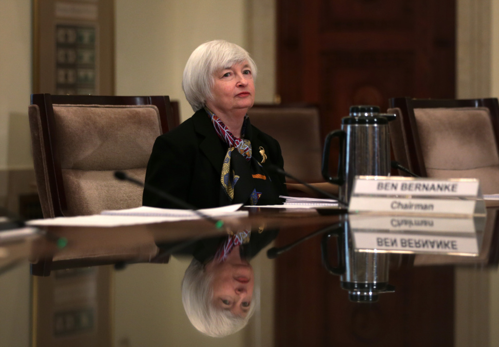 Janet Yellen, Vice Chair of the Federal Reserve Board and President Obama's nominee to succeed Chairman Ben Bernanke, waits for the beginning of a meeting of the Board of Governors of the Federal Reserve System to discuss the final version of the so-called