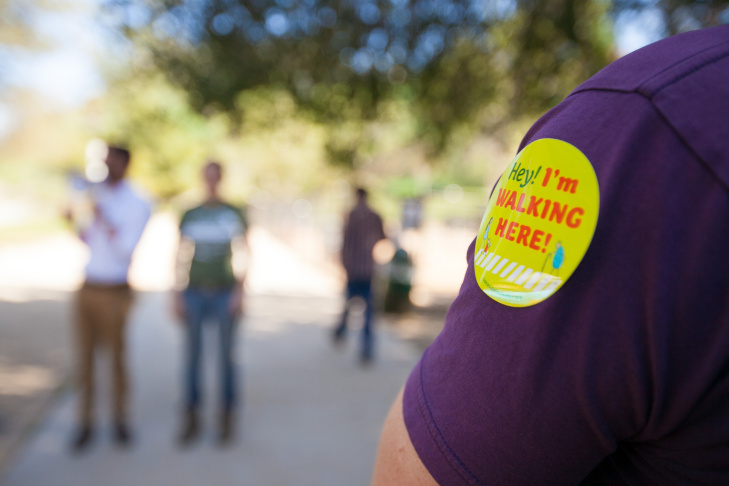 Jack Moreau pauses during the Dry River Walk he leads through the Arroyo Seco Bikeway and Ernest E. Debs Park on Mar. 7, 2015. Along the way, participants listened to speakers on the issues behind connecting the areas with bicycle and pedestrian transportation.