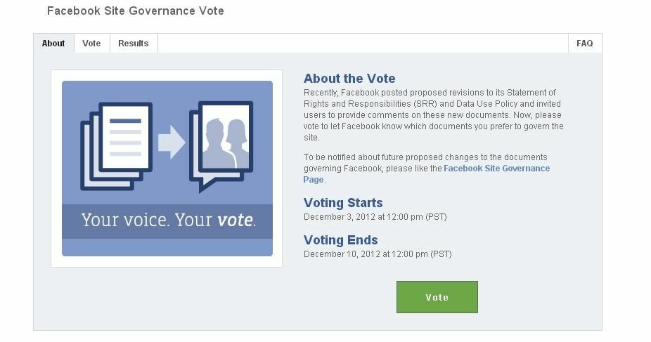 Facebook users can vote to keep the existing policy and preserve their right to vote, or to accept the policy changes and relinquish voting rights.