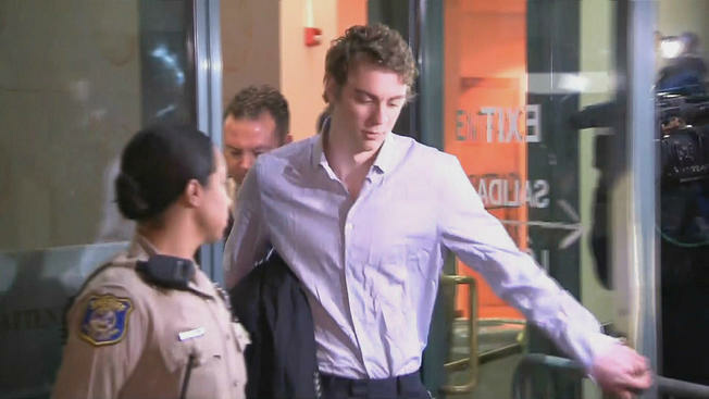 Brock Turner, convicted of sexual assault, is released from the Santa Clara County jail in San Jose on Sept. 2, 2016, after a three-month sentence.