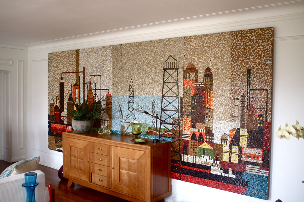 The John Smith mosaic mural inside Gregory Johnson's apartment