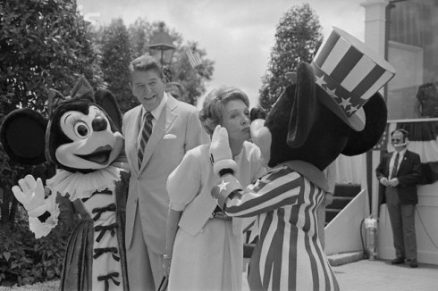 Former First Lady Nancy Reagan celebrates the opening of the Disney Treasures exhibit with representatives of the Reagan Library and the Walt Disney Company