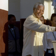 Nelson Mandela casts his vote during South Africa's first all-race elections in 1994. Mandela's example led to more democracy across Africa, although overall political freedom has declined on the continent in the last five years.