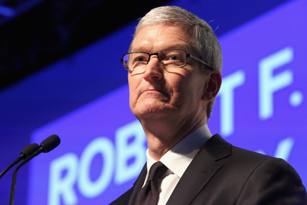 In this file photo, Apple CEO Tim Cook speaks onstage as Robert F. Kennedy Human Rights hosts The 2015 Ripple Of Hope Awards in New York City. In a letter posted on Apple's website late Tuesday, Cook said that the company will contest the judge's order to help the FBI unlock San Bernardino shooter Syed Farook's iPhone.
