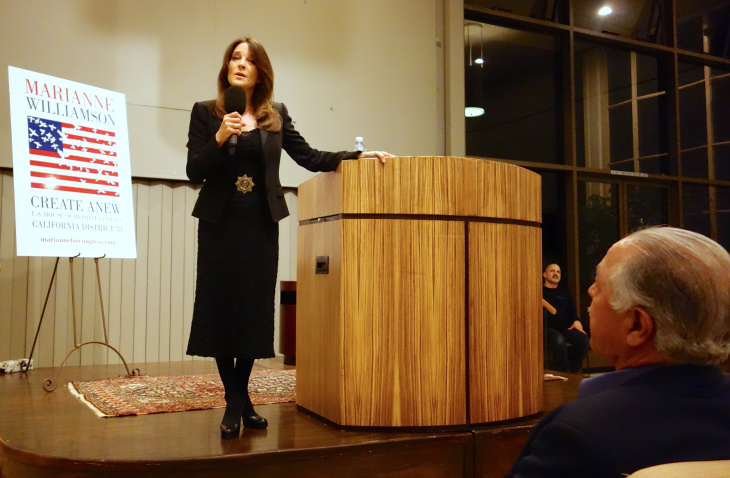 Marianne Williamson, independent candidate for Congress in the 33rd District, speaks to an audience in Palos Verdes