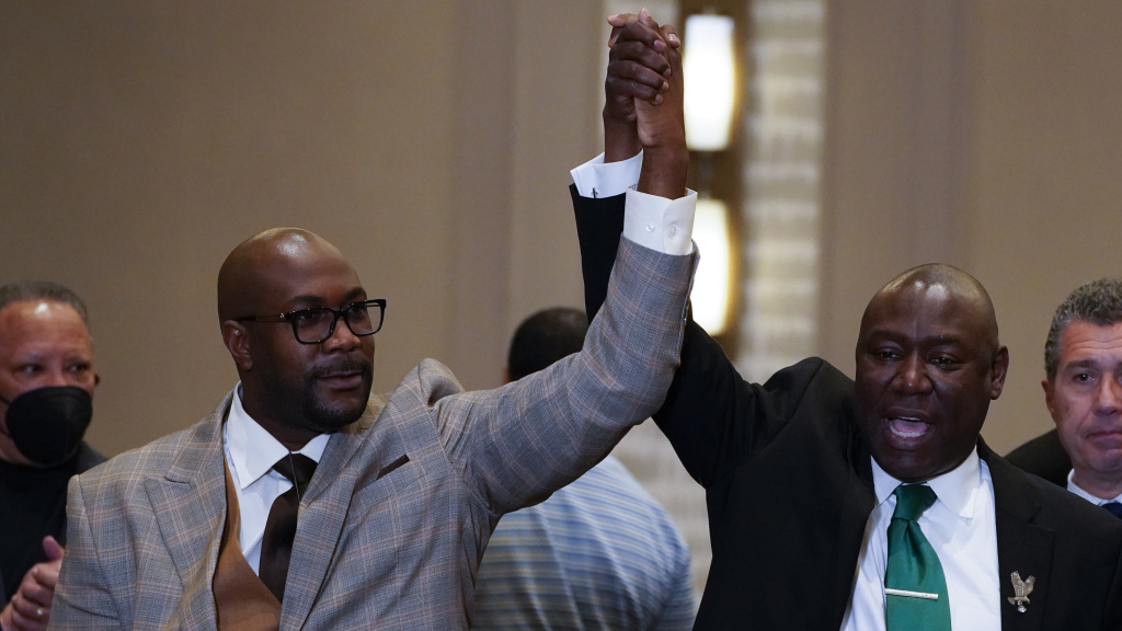 Philonise Floyd (left) and attorney Ben Crump react after a guilty verdict was announced at the trial of former Minneapolis police Officer Derek Chauvin for the murder of Floyd's brother George Floyd