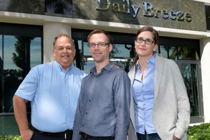 From left: The Daily Breeze City Editor Frank Suraci,  Rob Kuznia and Rebecca Kimitch
