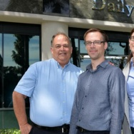 From left: The Daily Breeze City Editor Frank Suraci,  Rob Kuznia and Rebecca Kimitch