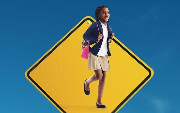 One of the Go Human ads depicts a girl on a traffic sign to remind drivers of the human life at stake in collisions.