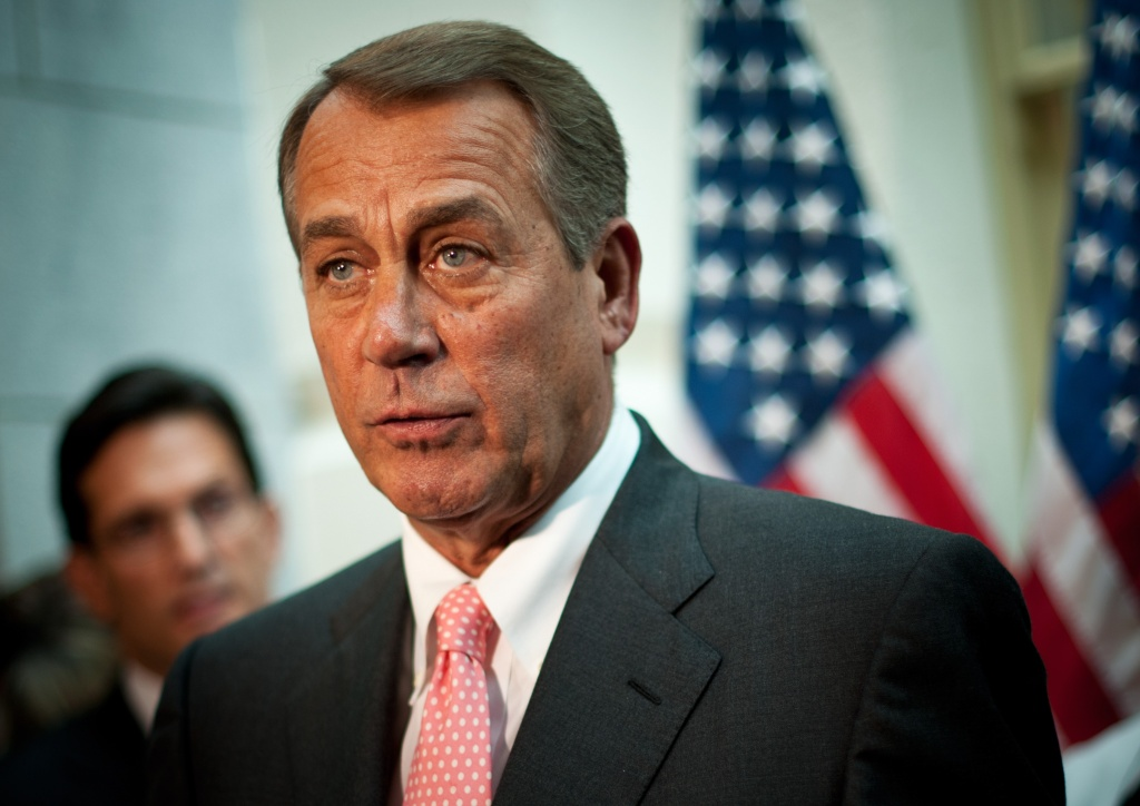 US House Speaker John Boehner, R-OH, speaks during a press conference at the US Capitol in Washington, DC on October 10, 2013.