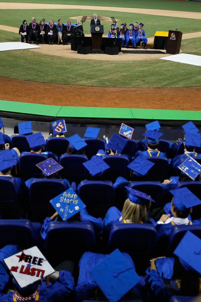 Vice President Joe Biden speaks during the commencement ceremony for Cypress Bay High School graduates at Marlins Park on June 4, 2012 in Miami, Florida.