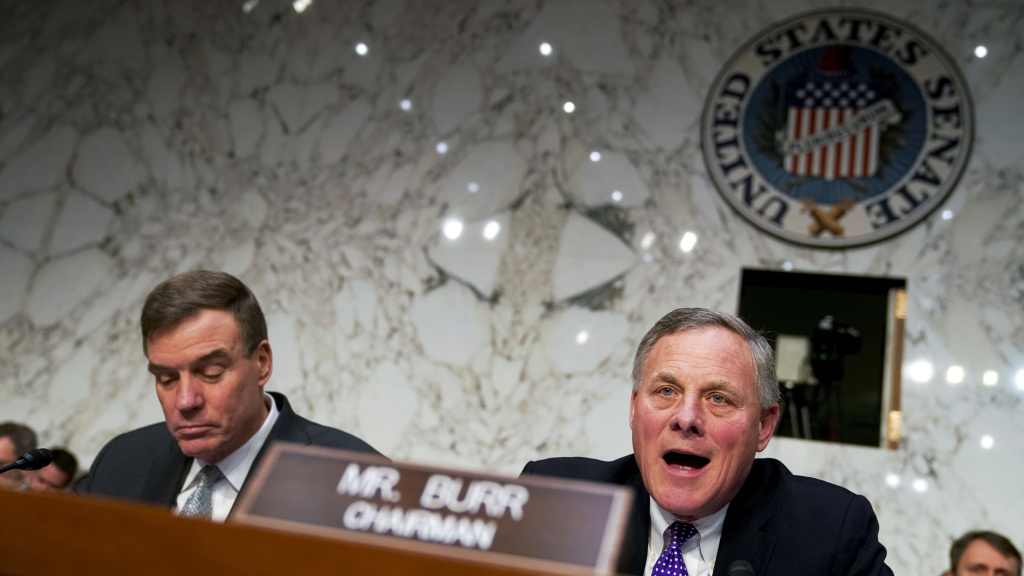 Chairman Richard Burr, R-N.C. (right) and Vice Chairman Mark Warner, D-Va., of the Senate intelligence committee are holding a hearing Wednesday on election security.