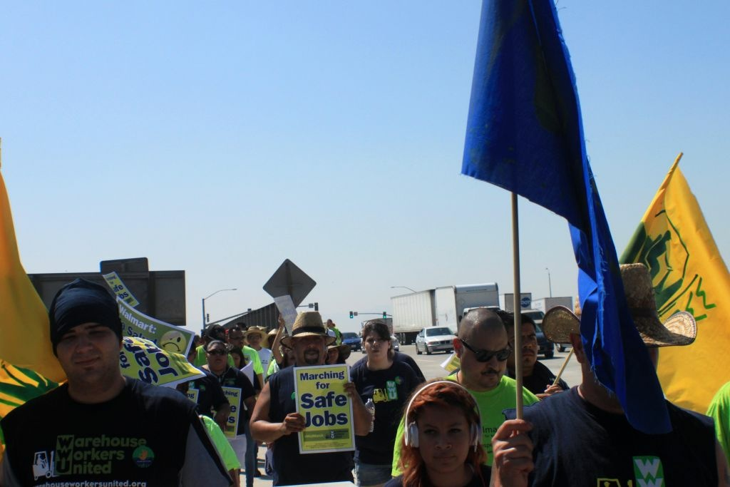 Warehouse workers march from the Inland Empire to LA in 2012 to protest working conditions.