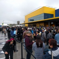 Shoppers lined outside of the new IKEA opening in Burbank.