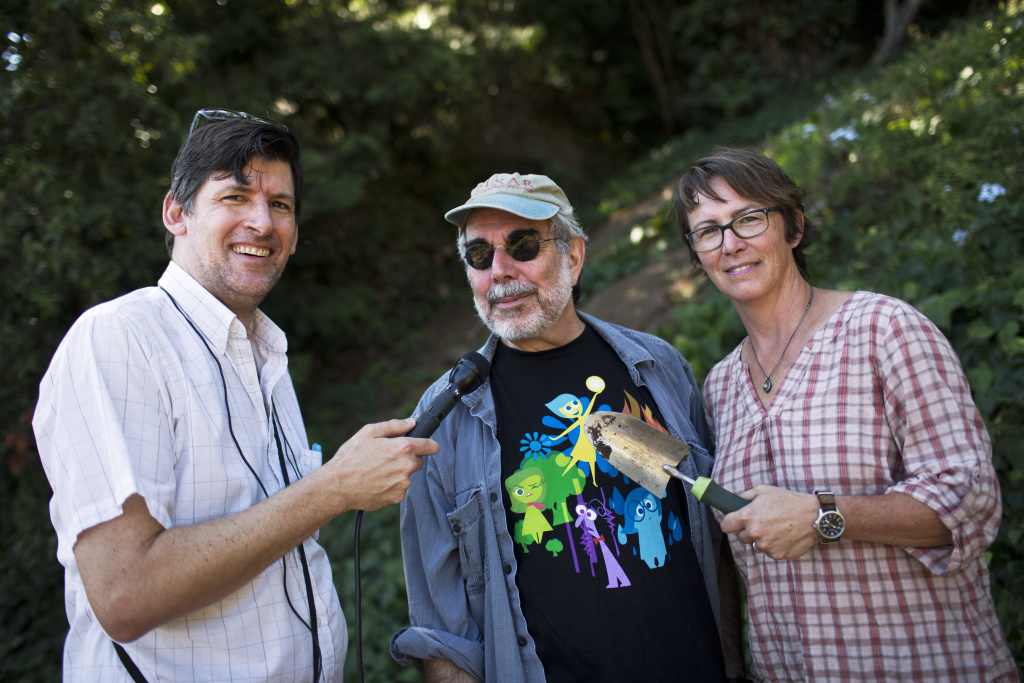 Off-Ramp host John Rabe interviews animation expert Charles Solomon and Theodore Payne Foundation director Madena Asbell in Soloman's home garden on Tuesday morning, Sept. 8, 2015.