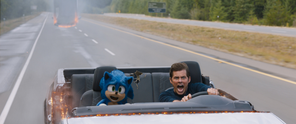 Sonic (played by Ben Schwartz) and James Marsden in
