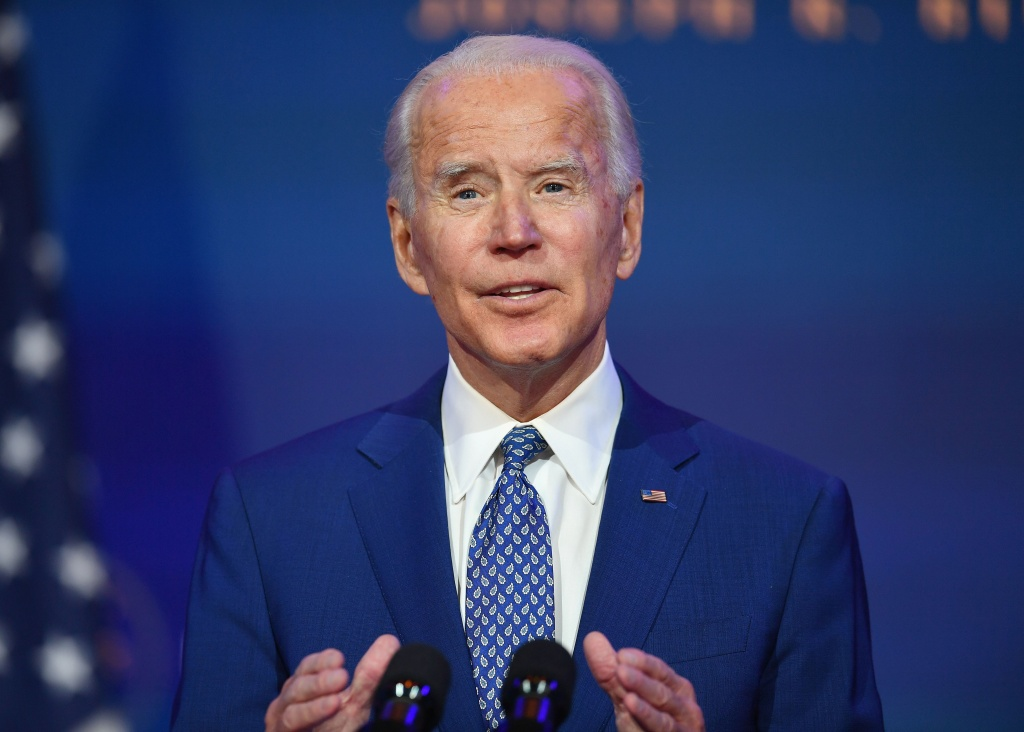US President-elect Joe Biden delivers remarks at The Queen in Wilmington, Delaware, on November 9, 2020.