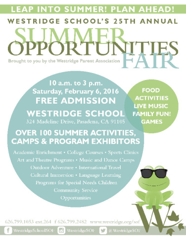 Westridge 2016 Summer Opportunities Fair