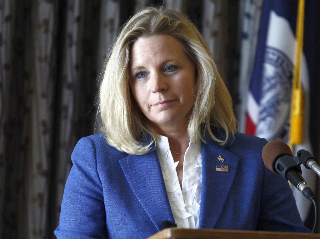 Liz Cheney campaigns in Casper, Wyo., after announcing her U.S. Senate bid in July. Her views on same-sex marriage have recently taken center stage.