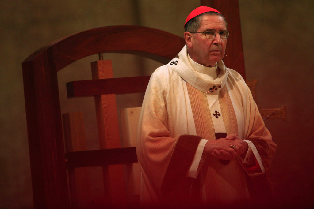 Now-retired Cardinal Roger Mahony in 2010, when he lead a Christmas mass at The Cathedral of Our Lady of the Angels. Records show he was kept abreast of allegations against Pina.