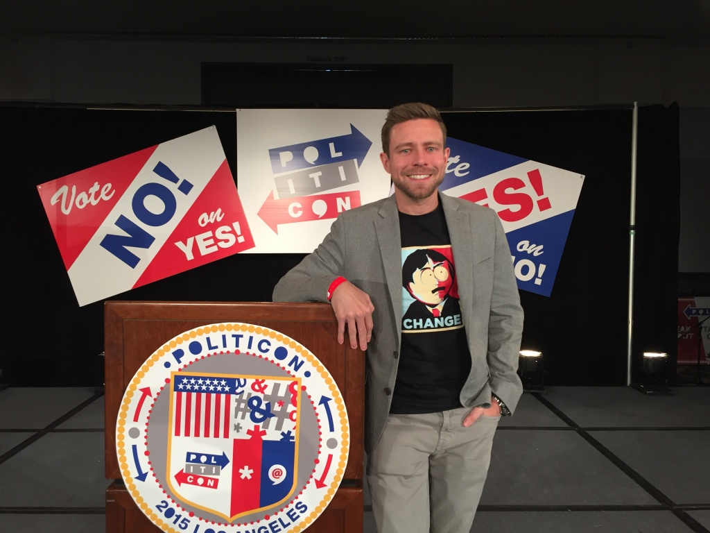 Adam Yenser was named the 2015 Politicomic at Politicon in Los Angeles. Yenser is a comedian and a writer on The Ellen DeGeneres Show.